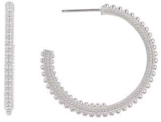 Judith Ripka Sterling Silver Classic Beaded 32mm Hoop Earrings