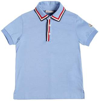 Moncler Cotton Jersey Polo Shirt W/ Logo Trim