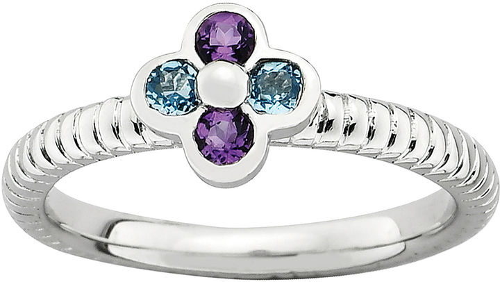 FINE JEWELRY Personally Stackable Genuine Amethyst & Blue Topaz Flower Ring