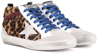 Golden Goose Mid Star leopard calf hair sneakers