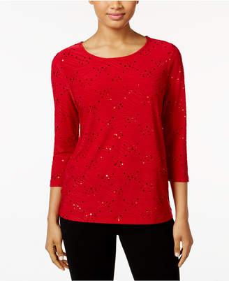 JM Collection Sequined Jacquard Top