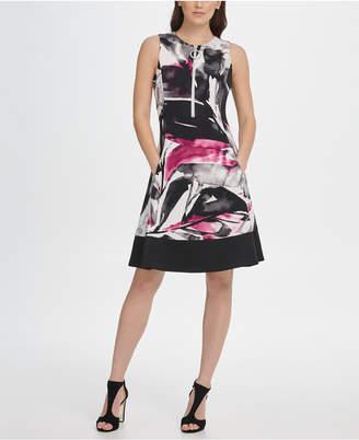 DKNY Scuba Contrast Hem Zipper Fit & Flare Dress