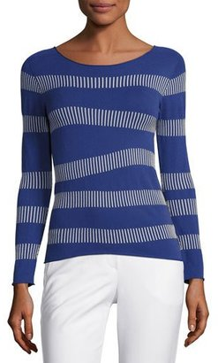 Armani Collezioni Irregular-Stripe Long-Sleeve Sweater, Blue Violet $625 thestylecure.com