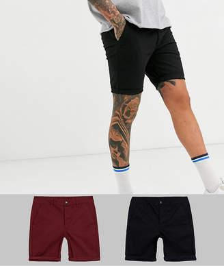 Asos Design DESIGN 2 pack super skinny chino shorts in burgundy & black save