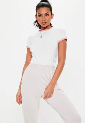 5d6d62f6aae60e Missguided Petite White Contrast Trim T Shirt
