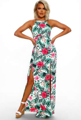 afb830061a08 Pink Boutique Caribbean Island White Tropical Print Maxi Dress