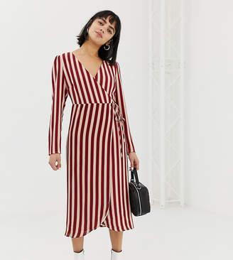 Glamorous Petite midi wrap dress with belt tie in stripe