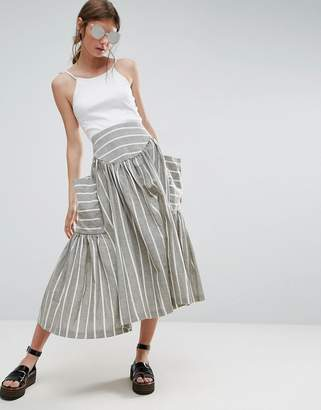 Asos Design Stripe Midi Skirt with Oversized Pocket