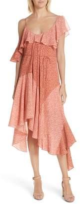 Joie Hacinthia Asymmetrical Mix Sleeve Silk Dress