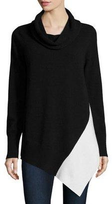 Neiman Marcus Cashmere Collection Cashmere Colorblock Cowl-Neck Sweater $350 thestylecure.com