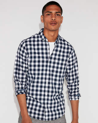 Express Slim Soft Wash Small Plaid Button-Down Shirt