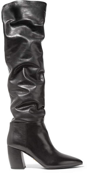 Prada - Leather Knee Boots - Black