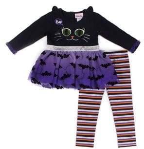 Little Lass Little Girl's Two-Piece Halloween Peplum Top & Stripe Leggings Set
