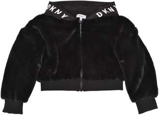 DKNY Hooded Cropped Faux Fur Jacket