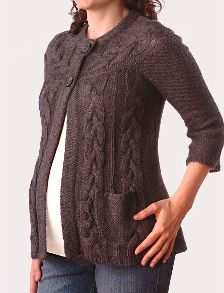 3/4 Sleeve Cable Knit Maternity Cardigan