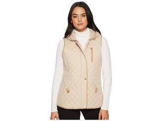 Lauren Ralph Lauren Hooded Vest w/ Faux Leather Tabs Women's Vest