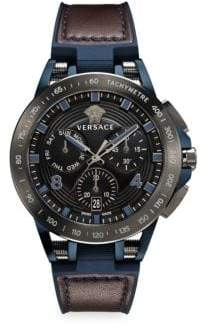 Versace Tech Stainless Steel, Leather& Rubber Strap Watch