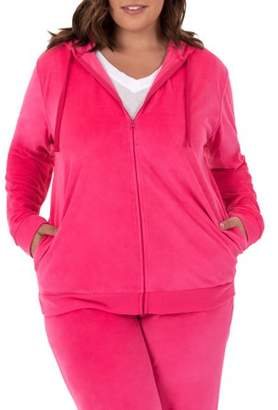 Athletic Works Women's Plus Size Velour Hoodie Jacket