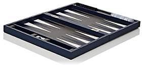 Barneys New York Leather Backgammon Set-Blue
