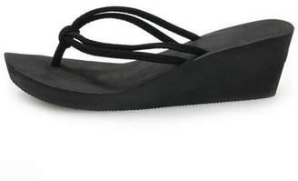 7c8710040 Marlow Willie Women Flip Flops PU Rubber Slip-on Fashion Sandals Beach Flat  Wedge Slippers