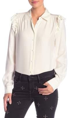 Frame Ruffle Silk Long Sleeve Blouse