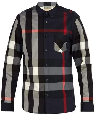 Burberry - House Check Button Down Shirt - Mens - Navy