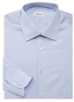 Brioni Micro Plaid Dress Shirt