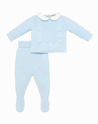 Carrera Pili Woven Peter Pan Collar Sweater w/ Footed Leggings, Size 1-6 Months