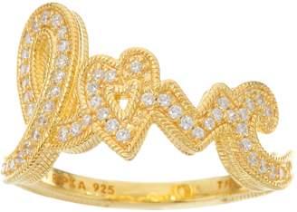 Judith Ripka 14K Clad 4/10 cttw Diamonique Pave Love Ring