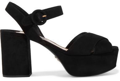 Prada - Suede Platform Sandals - Black