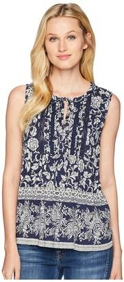 Lucky Brand Sleeveless Lace Mix Top Women's Clothing