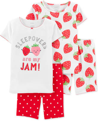 Carter's Carter Little & Big Girls 4-Pc. Cotton Strawberry Pajamas Set