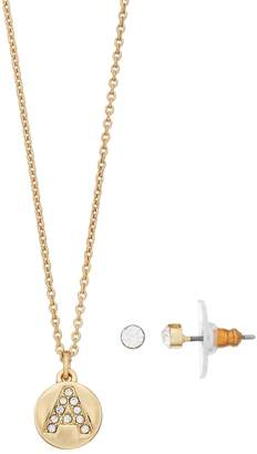 Lauren Conrad Crystal Initial Pendant Necklace & Stud Earring Set