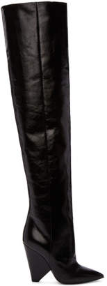 Saint Laurent Black Leather Niki Over-the-Knee Boots