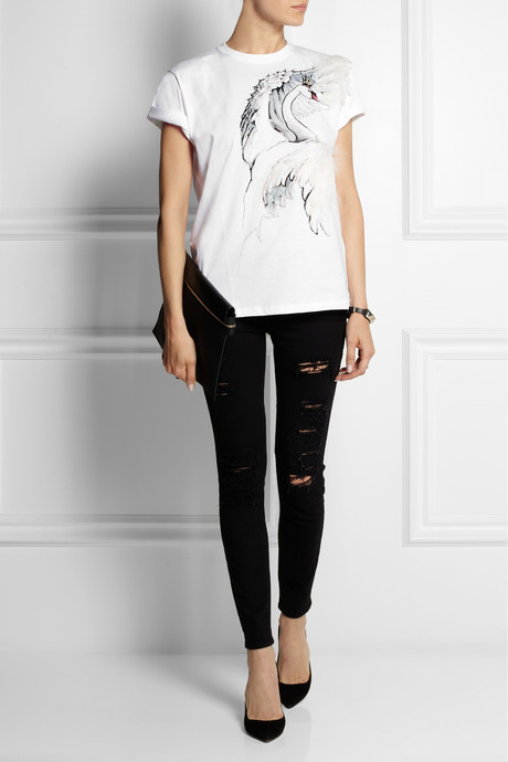 RED Valentino Feather-embellished printed cotton-jersey T-shirt