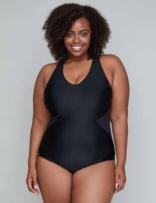 Mesh Inset Active Lap Suit with Built-In No-Wire Bra