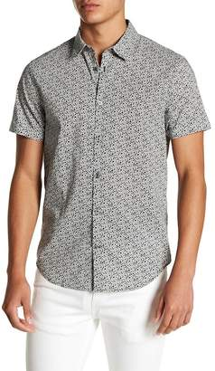 John Varvatos Short Sleeve Woven Floral Print Shirt