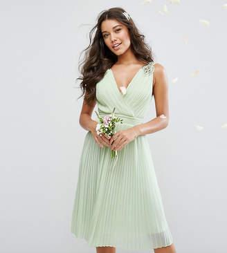 TFNC WEDDING Pleated Midi Dress with Embellished Shoulder