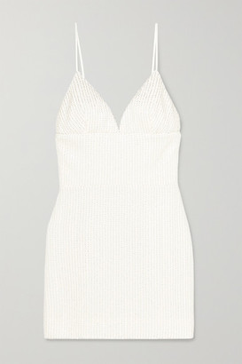 Rasario Sequin And Bead-embellished Tulle Mini Dress - White