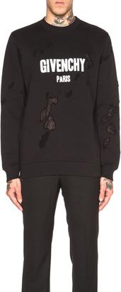 Givenchy Cuban Fit Destroyed Logo Print Sweatshirt $1,050 thestylecure.com