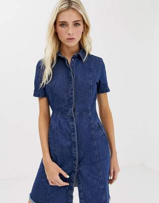 Noisy May frayed hem denim dress