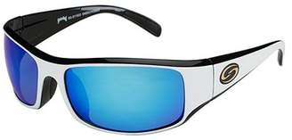 Strike King Lures S11 Optics Sunglasses Okeechobee Style, Two Tone Frame, Multi Layer White Blue Mirror/Gray Base Lens