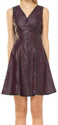 Max Studio Fit And Flare Coated Applique Dress