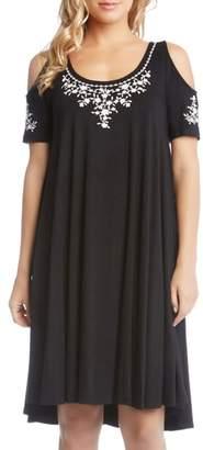 Karen Kane Cold Shoulder Embroidered Trapeze Dress