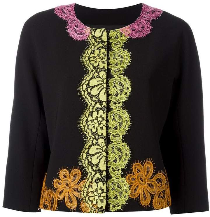Moschino lace detail cropped jacket