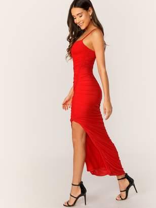Shein Asymmetrical Hem Slim Fitted Ruched Detail Slip Dress