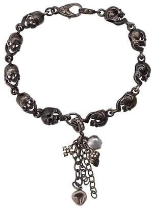 Loree Rodkin skull and pearl charm bracelet