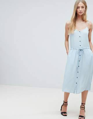 Brave Soul Becky Button Through Midi Dress with Drawstring Waist