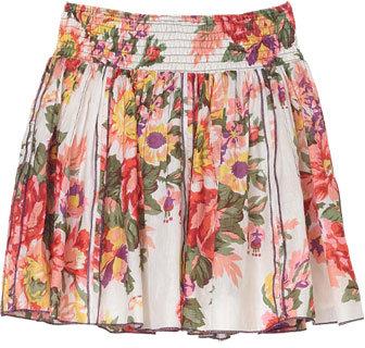 Smocked Floral Skirt