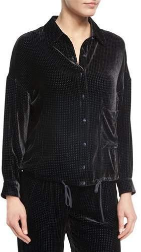 Armani CollezioniArmani Collezioni Perforated Velvet Pajama Top, Black